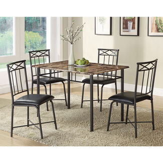 Faux Marble Dining Set - 5 Piece